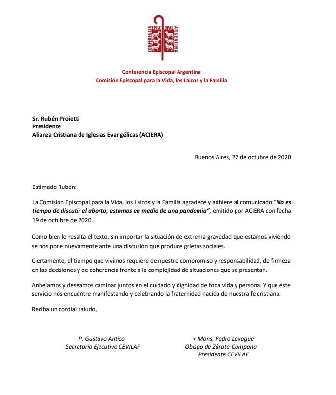 Adhesión de CEVILAF al comunicado de ACIERA