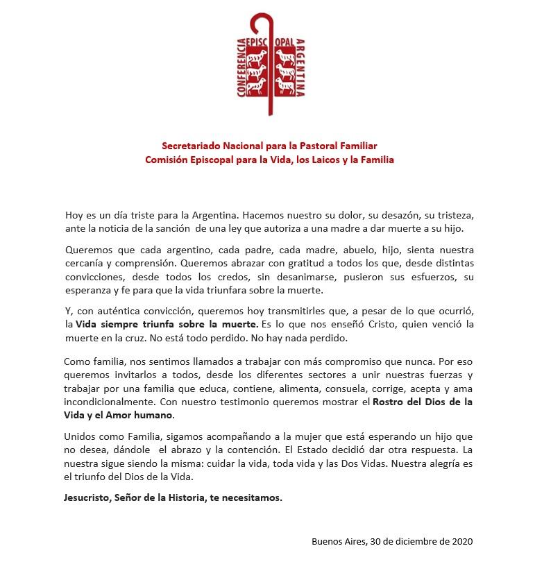 Comunicado SNPF ante la sanción de la ley del aborto